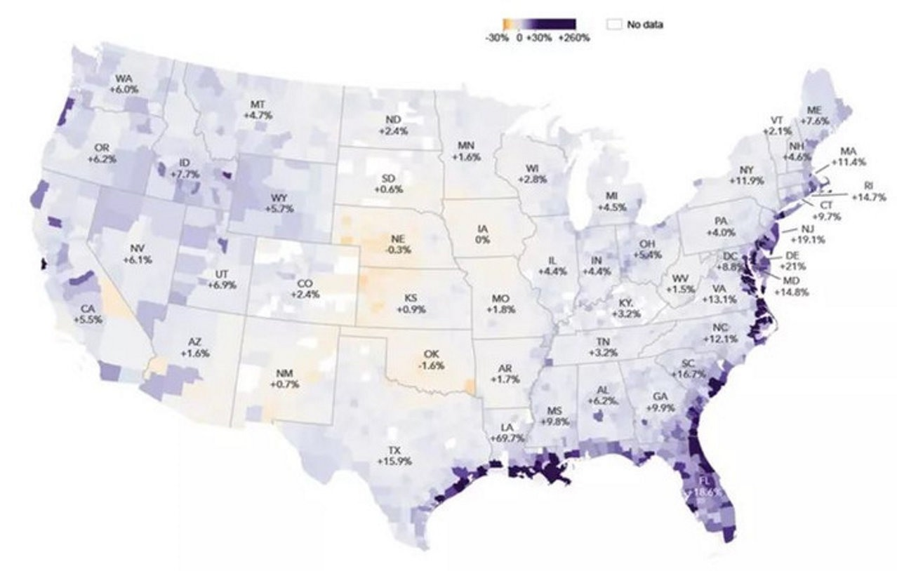 Карта затопления USA